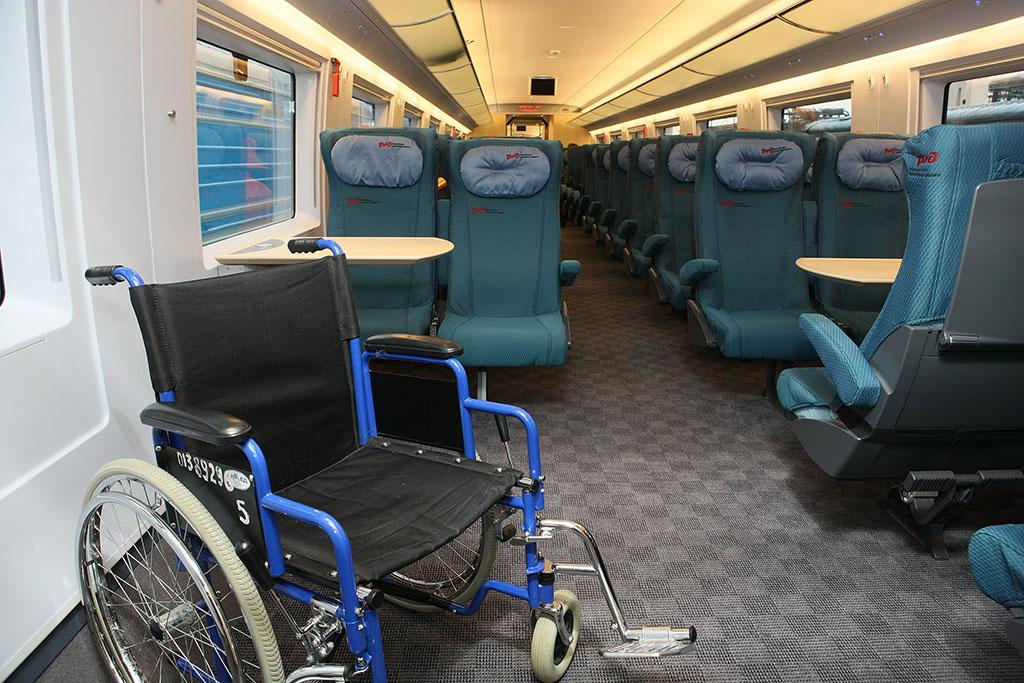 """Места для пассажиров с ограниченными возможностями в поезде  """"Сапсан """" ."""