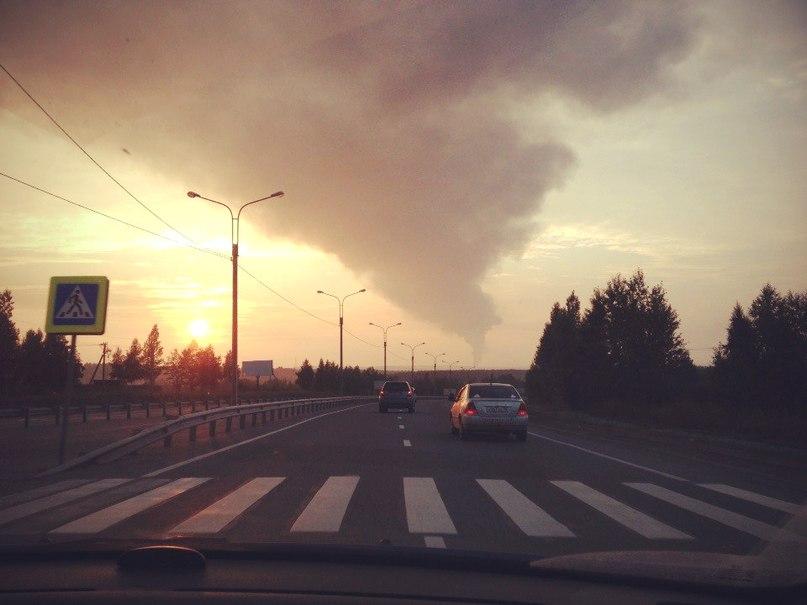 Вид на пожар с объездной Ново-Ленино из Иркутска. Фото Галины Соколовой