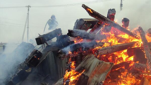 В Иркутске горело лесоперерабатывающее предприятие