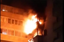 Пожар в многоэтажном доме в Иркутске