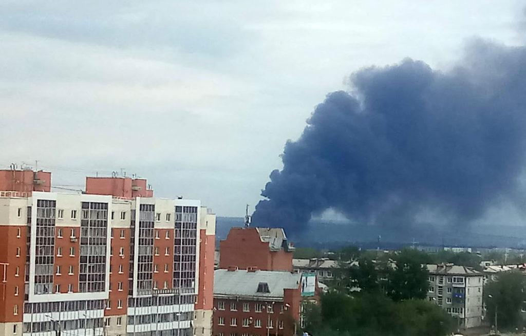 Авиазавод горел в Иркутске